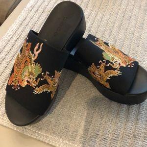 Bebe slide wedge sandals